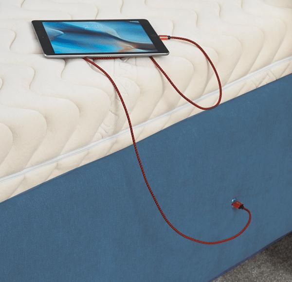 USB charging socket on bed